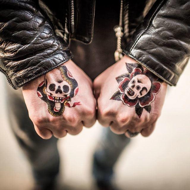 Skull hand tattoos - Paco - Mr 8 Ball - Tattoos in Mexico