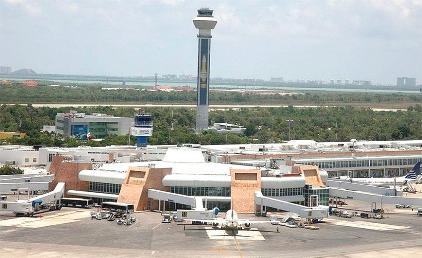 Cancun Airport seen from a high angle.